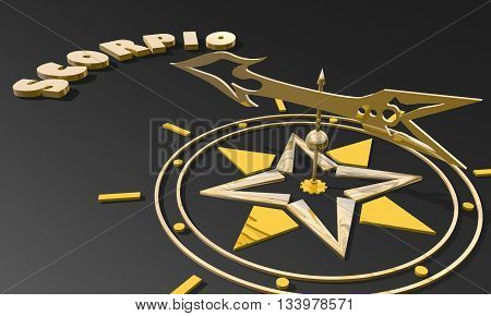 Scorpion astrology sign. Golden compass arrow point to astrological symbol name. 3D rendering