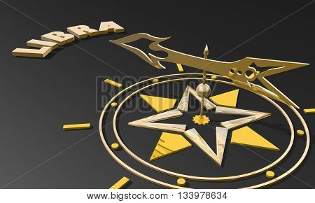 Scales astrology sign. Golden compass arrow point to astrological symbol name. 3D rendering