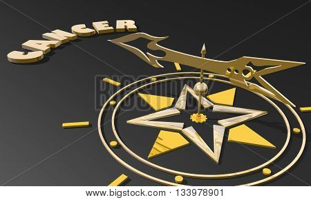 The crab astrology sign. Golden compass arrow point to astrological symbol name. 3D rendering