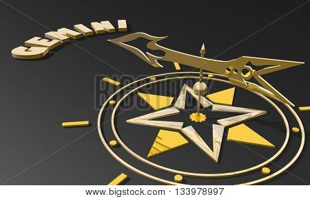 The twins astrology sign. Golden compass arrow point to astrological symbol name. 3D rendering