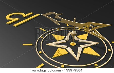 Scales astrology sign. Golden compass arrow point to astrological symbol. 3D rendering