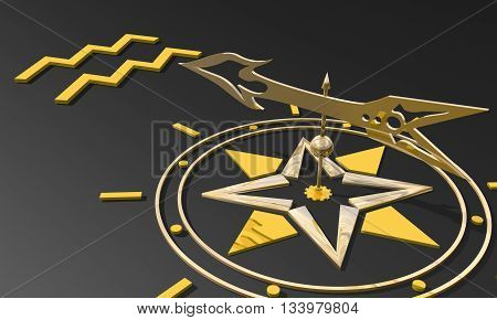 the water-bearer astrology sign. Golden compass arrow point to astrological symbol. 3D rendering
