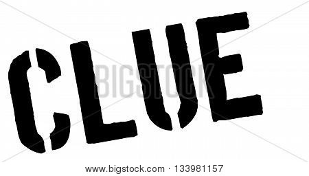 Clue Black Rubber Stamp On White