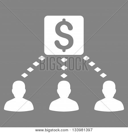 Money Recipients vector toolbar icon. Style is flat icon symbol, white color, gray background, rhombus dots.