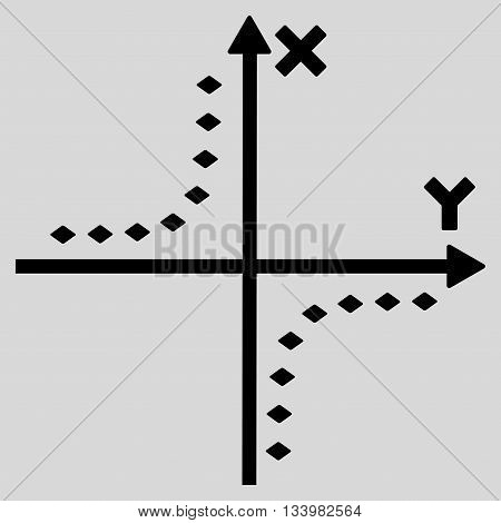Dotted Hyperbola Plot vector toolbar icon. Style is flat icon symbol, black color, light gray background, rhombus dots.