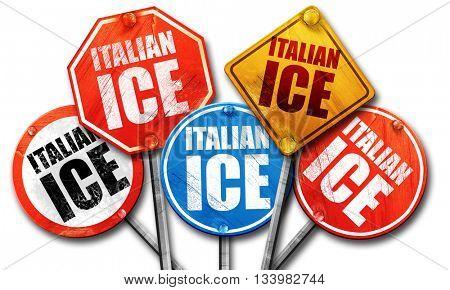 italian ice, 3D rendering, street signs