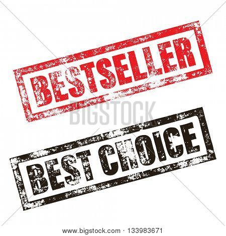 Bestseller stamp of red grunge square vintage rubber print. Best Choice stamp. Black ink vector deal imprint.