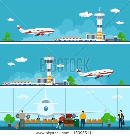 Airport Horizontal Banners, Arrivals at Airport, Departures from Airport, People with Luggage in the Waiting Room , Travel Concept ,Flat Design, Vector Illustration