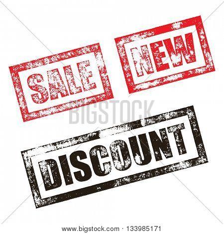 New, Sale stamp of red grunge square vintage rubber print. Discount stamp. Black ink vector promo imprint.