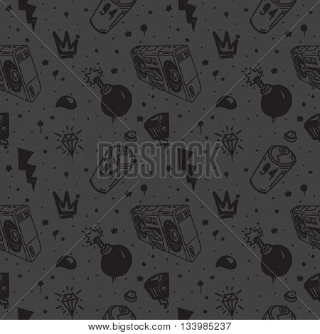 Graffiti black graphic spray can cartoon doodle, sketch grunge vector illustration with aerosol, cans, boombox.  Seamless vector pattern in black, gray