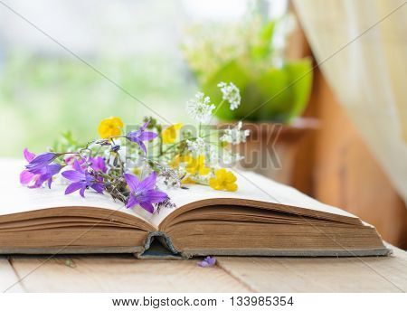 Open book with bouquet of wild flowers, nostalgic vintage background