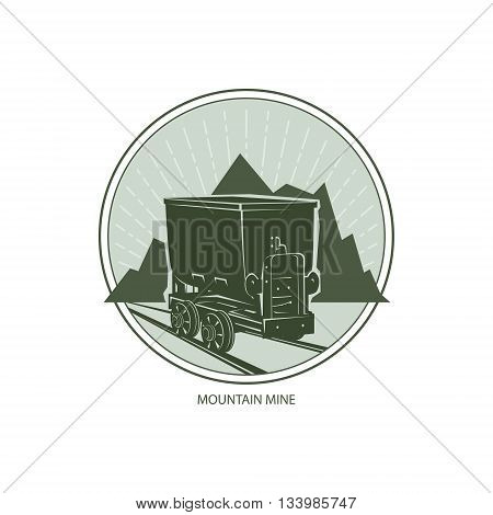 Mountain Mine, Design Element, Coal Mine Trolley against Mountains and Sunburst, Label and Badge Mine Shaft,Emblem of the Mining Industry, Vector Illustration