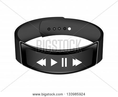 isolated wrist band with music player symbols vector design , Vector