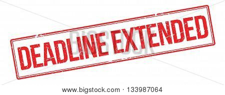 Deadline Extended Red Rubber Stamp On White