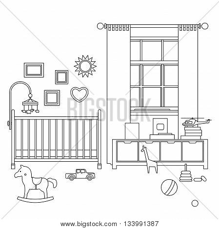Baby room line interior. Vector outline illustration of nursery with furniture and toys.