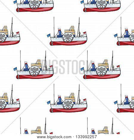 vector seamless pattern water transport. kids toy steamship