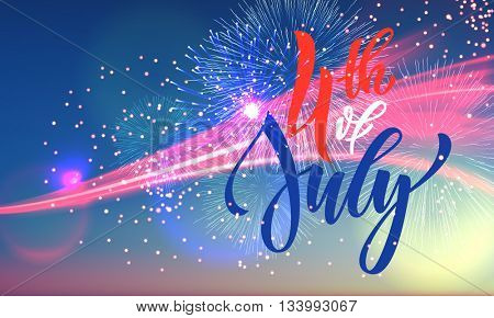 4 July USA fireworks greeting card. United States of America Independence Day national holiday card design. Festive US Flag background wallpaper.
