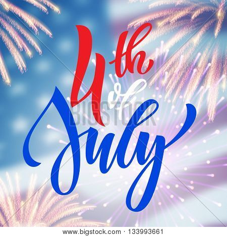 4 July USA fireworks greeting card. United States of America Independence Day national holiday card design. Festive background wallpaper.