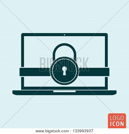 Laptop lock icon. Secure lock computer symbol. Vector illustration