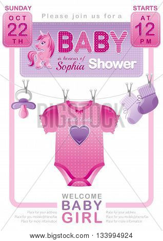 Baby shower girl invitation design with body suit, socks, soother in pink and purple color on white background. Cute pony unicorn icon