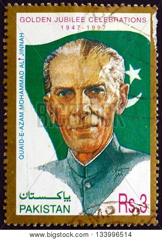 PAKISTAN - CIRCA 1997: a stamp printed in Pakistan shows Mohammad Ali Jinnah Lawyer Politician and the Founder of Pakistan Independence 50th Anniversary circa 1997