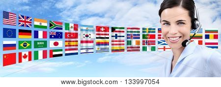 contact us customer service operator woman with headset smiling isolated on international flags and sky background
