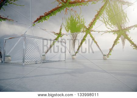Empty penthouse interior with plants growing on panoramic window and ceiling concrete floor and ladder railing. 3D Rendering