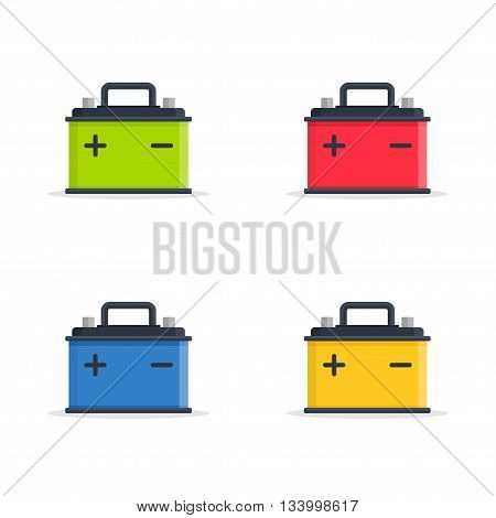 Set Car Battery icons isolated on white background. Accumulator battery energy power and electricity accumulator battery.
