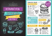Menu placemat food restaurant brochure menu template design. Vintage creative dinner template with hand-drawn graphic. Vector food menu flyer. Gourmet menu board. poster