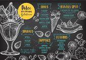 Ice cream menu placemat food restaurant brochure dessert template design. Vintage creative sweet template with hand-drawn graphic. Vector food menu flyer. Gourmet menu board. poster