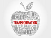 TRANSFORMATION apple word cloud health concept, presentation background poster