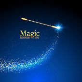 Magic wand vector background. Miracle magician wand with sparkle lights. poster