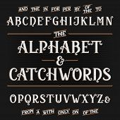 Vintage alphabet vector font with catchwords. Ornate letters and catchwords the, for, a, from, with, by etc. Vector typography for labels, headlines, posters etc. poster