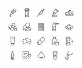 Simple Set of Pills Related Vector Line Icons. Contains such Icons as Gel, Inhaler, Prescription, Syrup and more. Editable Stroke. 48x48 Pixel Perfect. poster