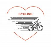 Line vector symbol for cycling with open path. I love cycling. Outline figure cyclist. Stylish logo cycling on white background. poster