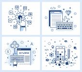 Set of vector illustrations in modern linear style, tuning applications, programming and design applications, keyword selection, adaptive design. poster
