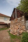 Adobe clay brick , mud brick house in Ohrid, Old Villages in Macedonia. poster
