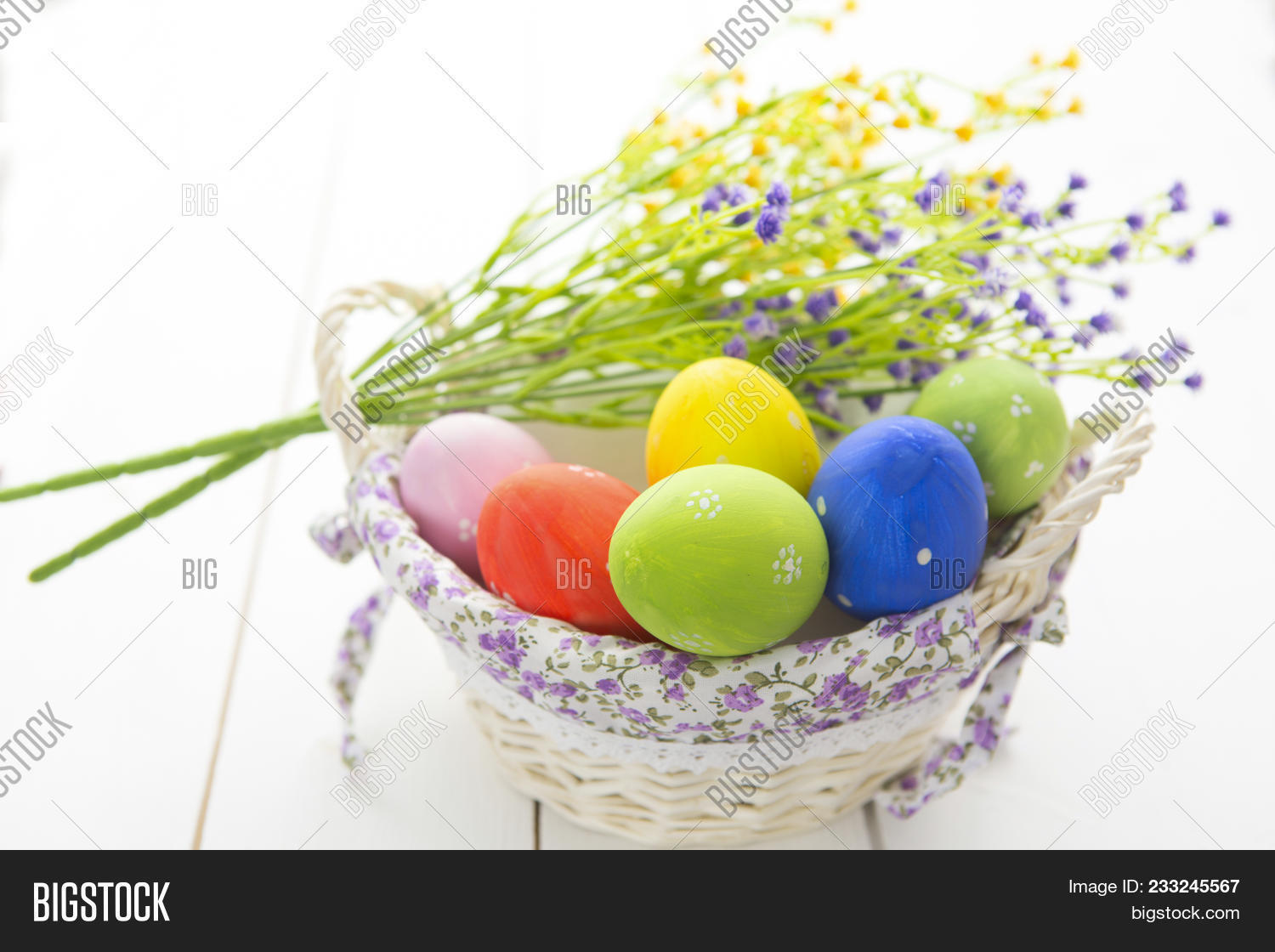 Beautiful flowers image photo free trial bigstock beautiful flowers and easter eggs basket easter eggs in basket on wooden surface izmirmasajfo