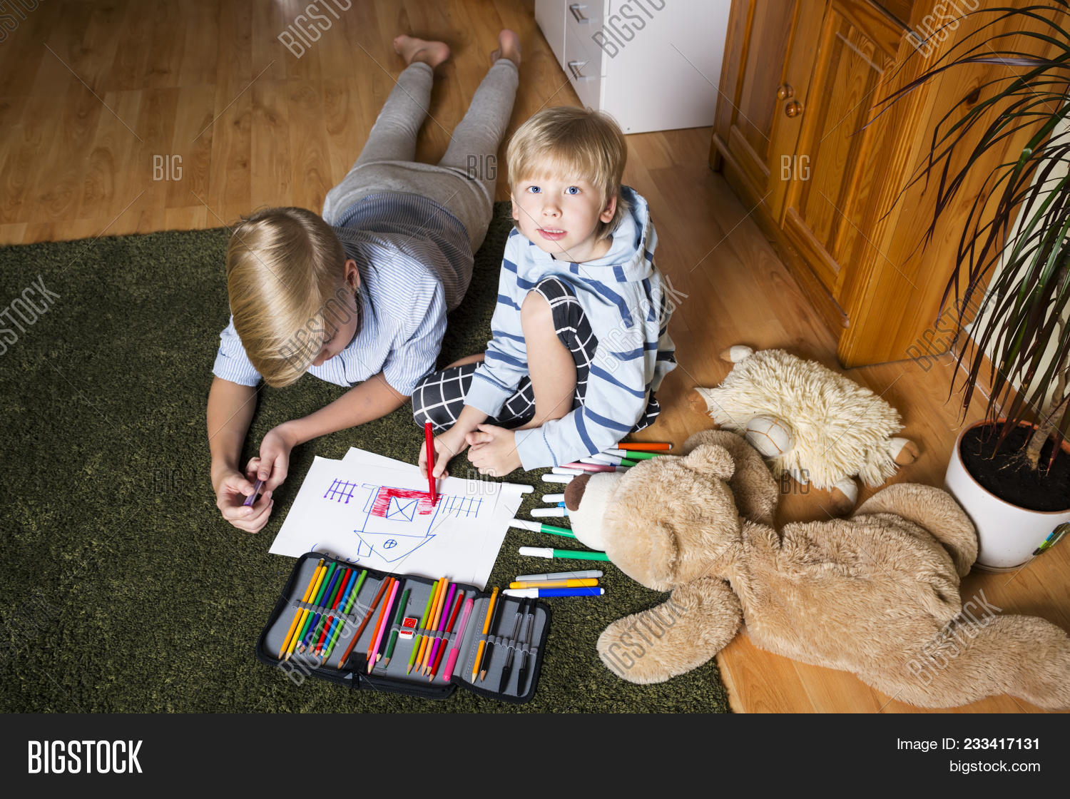 Kids Sitting On Floor Image Photo Free Trial Bigstock