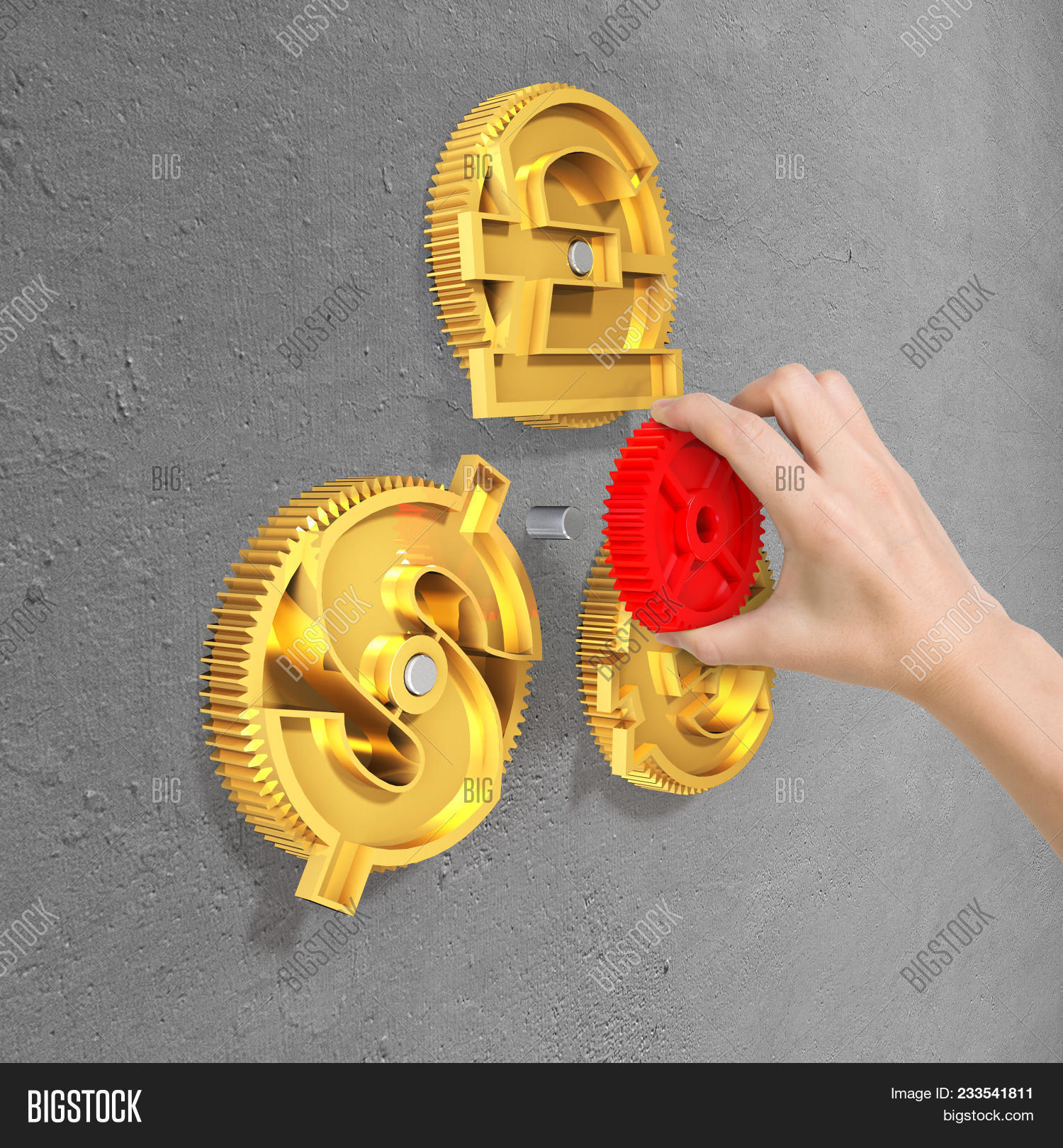 Hand Holding Red Gear Image Photo Free Trial Bigstock