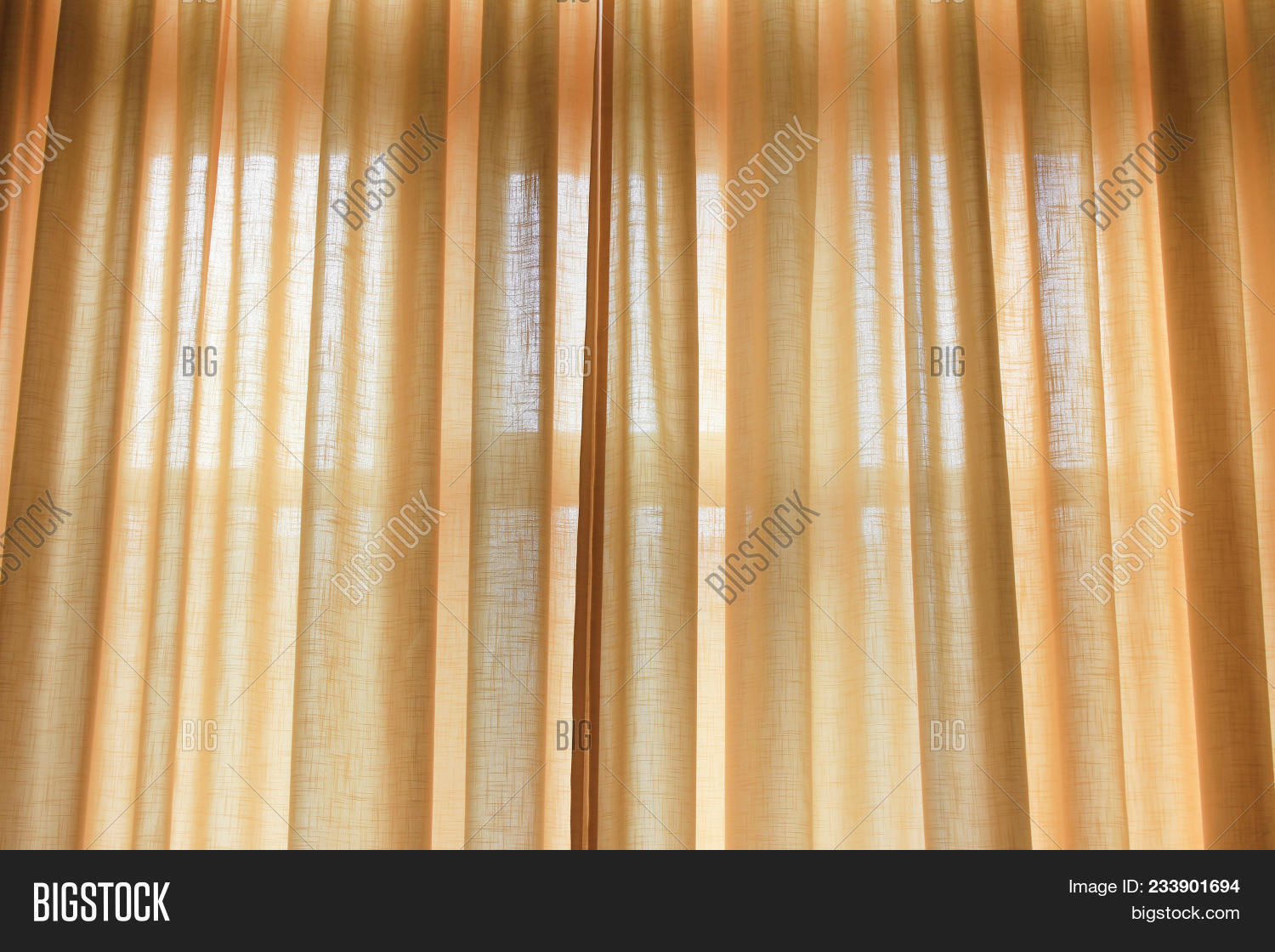 Curtains Drawn Of Light Soft Yellow Pastel Color. Elegant Curtain Cloth On  Bedroom Or Living