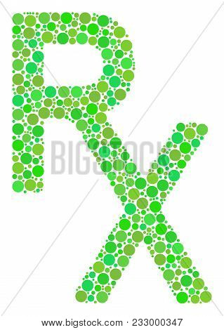 Rx Medical Symbol Mosaic Of Filled Circles In Different Sizes And Green Color Hues. Vector Filled Ci