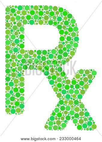 Rx Symbol Collage Of Filled Circles In Variable Sizes And Eco Green Color Tints. Vector Dots Are Org