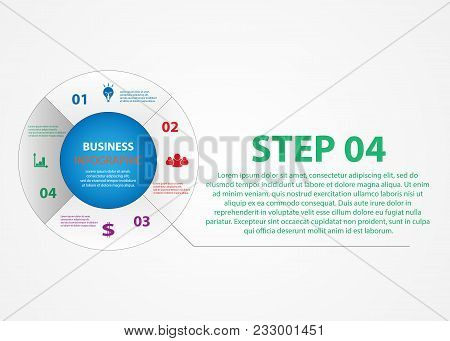 Business Infographics, A Circle With A Choice Of Steps. Elements Of The Presentation For The Impleme