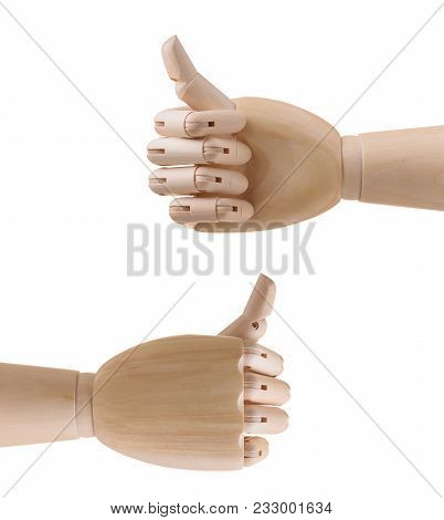 Wooden Hand With Thumb Up. Isolated On White Background