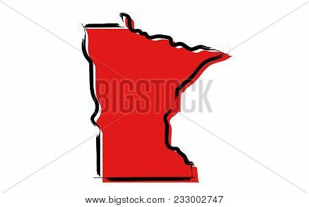 Stylized Red Sketch Map Of Minnesota Illustration Vector