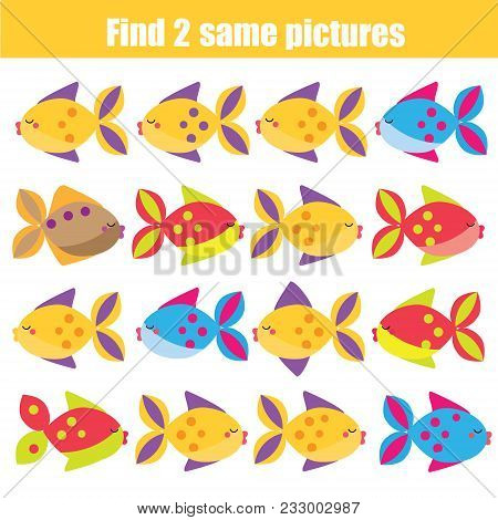 Find The Same Pictures Children Educational Game. Find Equal Pairs Of Fish Kids Activity. Animals Th