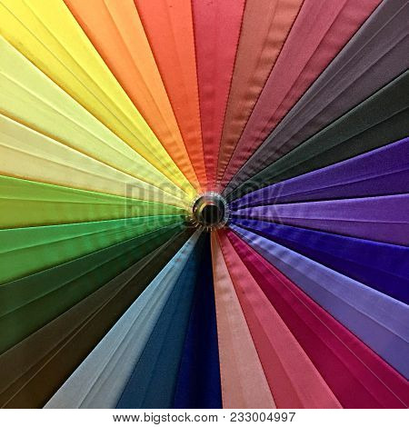 Colorful Chromatic Umbrella With Colors Of A Rainbow