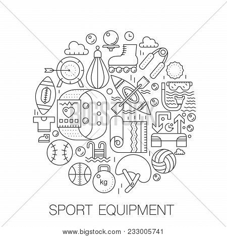 Sport Equipment In Circle - Concept Line Illustration For Cover, Emblem, Badge. Sport Fitness Equipm