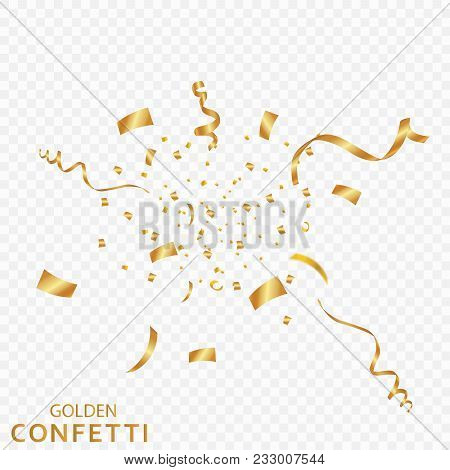 Golden Confetti, Ribbons Isolated On A Transparent Background. Festive Vector Illustration. Festive